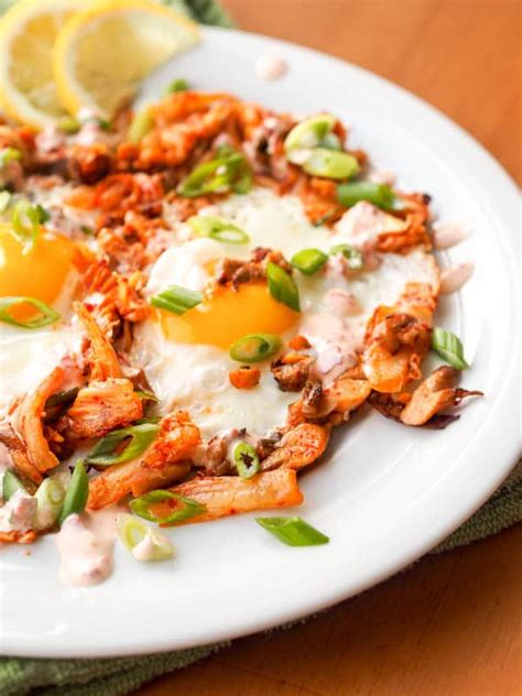 korean breakfast kimchi egg skillet  oyster mushrooms