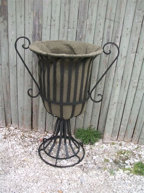 wrought iron planter wrought iron 28 quot urn with handles planter