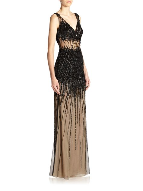 black beaded gown lyst basix black label beaded gown in black
