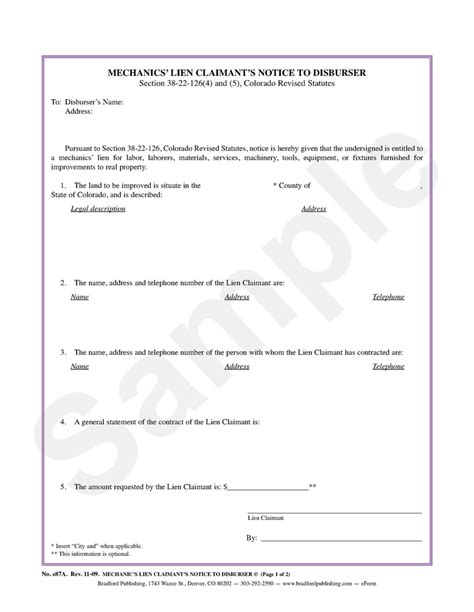 Mechanics Lien Claimant S Notice To Disburser Bradford Publishing Notice Of Lien Letter Template