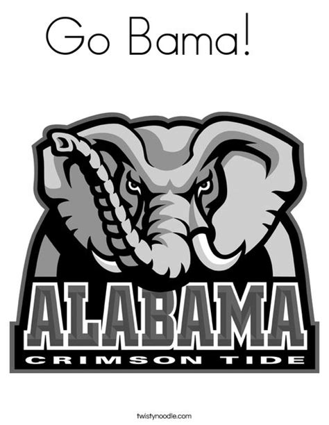 alabama elephant coloring page go bama coloring page twisty noodle