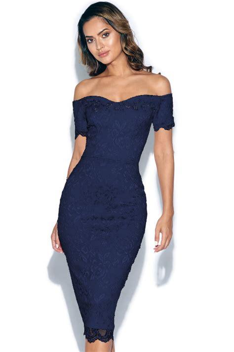 Bodycon Dress W7821uzi D Blue Navy bardot lace bodycon midi dress in navy blue vestry