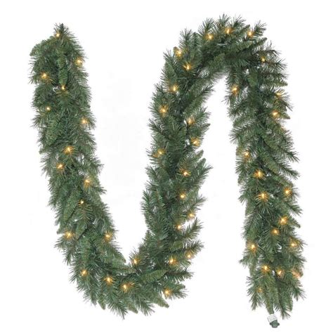 lighted outdoor garland shop living indoor outdoor pre lit 9 ft l pine