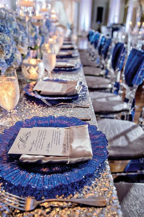 blue and silver place setting reception   African and