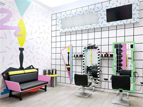 80s Hair Salon Interior | ljubljana 80s graphics for the interior of yms center
