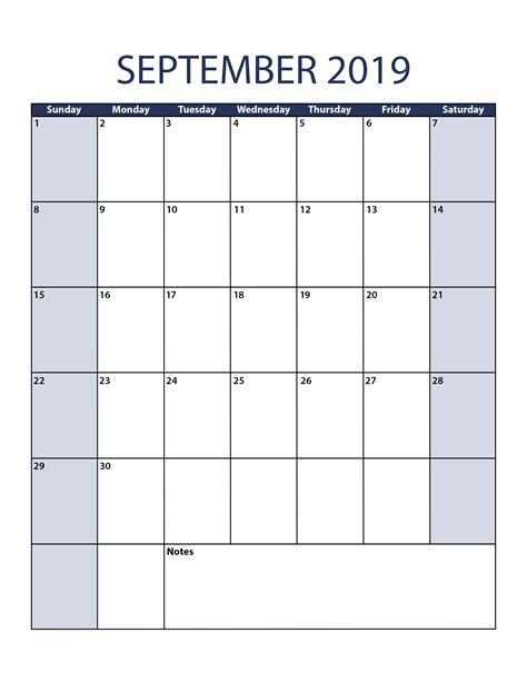 September 2019 Calendar Template Printable Calendar Template 2019 Monthly Calendar Template Excel