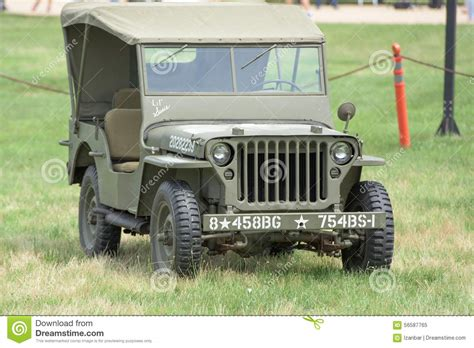 vintage military jeep vintage us army truck front view editorial photo