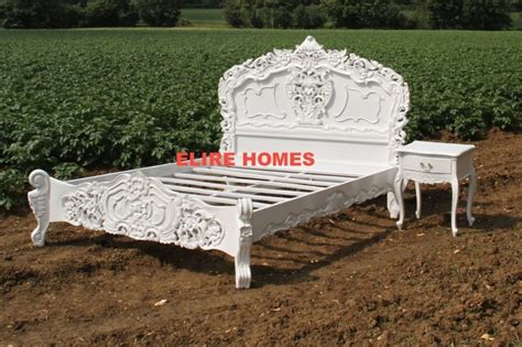 Shabby Chic King Size Bed Frame Bespoke King Size Or White Black Shabby Rococo Bed Chic Wood Ebay