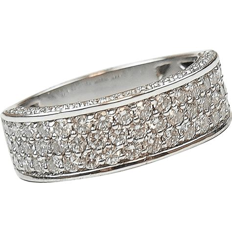 White Gold 1 08 ctw pave band ring 14k white gold arnold