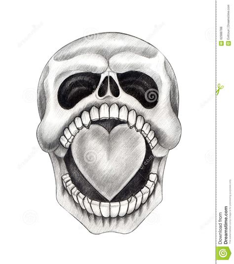 art skull heart tattoo stock illustration image 62988788