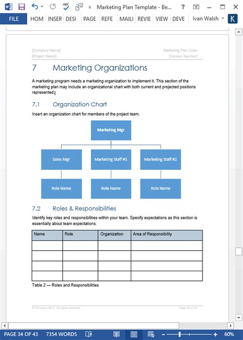 Marketing Plan Template 40 Page Ms Word Template And 10 Excel Spreadsheets Marketing Analysis Template