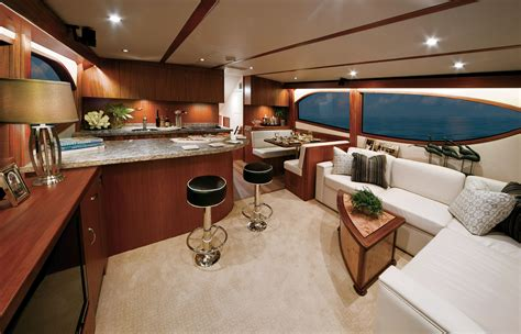 fishing boat interiors hatteras gt60 luxurious and spacious interiors boating