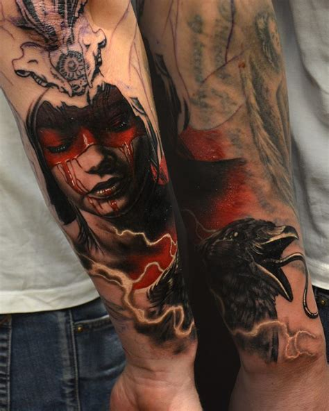 horror girl face tattoo  man  arm  hokowhitu