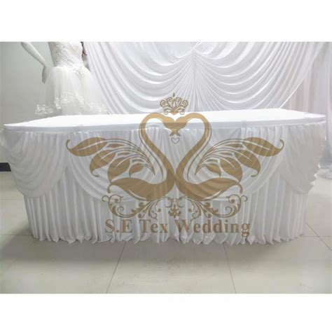 cheap white table skirts 2017 cheap price white color silk table skirt wedding