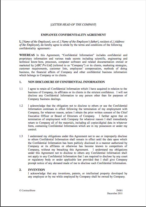 employment confidentiality agreement template employee agreement template out of darkness