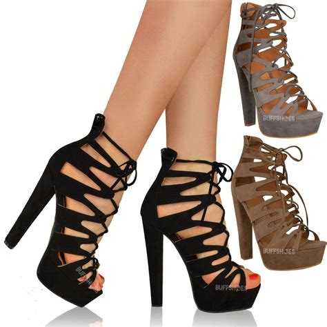 Heels Gladiatorplatform Heels Tali new womens high heel platform gladiator sandals lace up ankle shoes size ebay