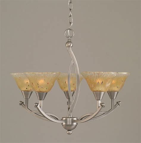 Buy 5 Light Mini Chandelier W Amber Crystal Glass Shades Small Glass Chandeliers
