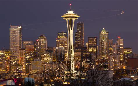 Lights Seattle by Seattle Skyline Space Needle Nightshot Langzeitbelichtung
