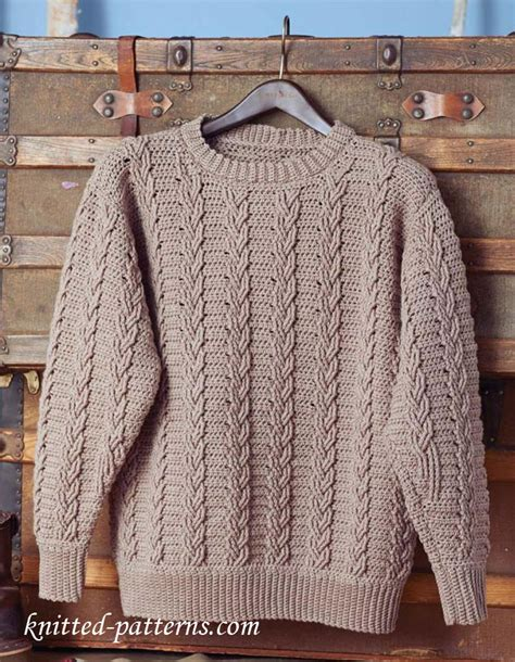 free knit pattern mens sweater men s crochet sweater pattern free