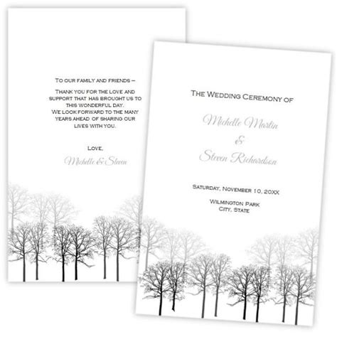 folded wedding program template folded wedding program template winter forest diy