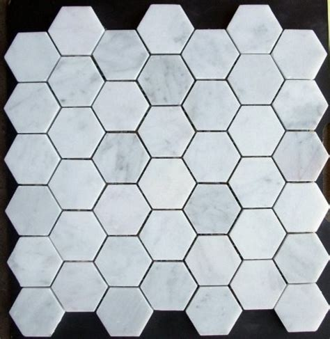 bianco white marble hexagon mosaic tile honed