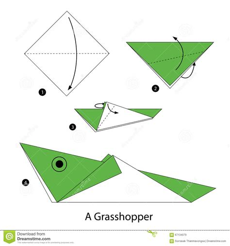 Origami Grasshopper - step by step how to make origami a