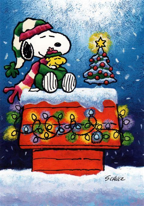 snoopy  woodstock  bundled    snow   christmas tree snoopy christmas