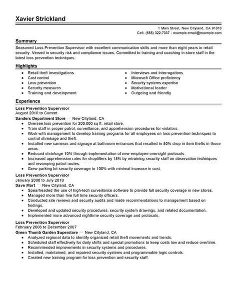 best loss prevention supervisor resume exle livecareer