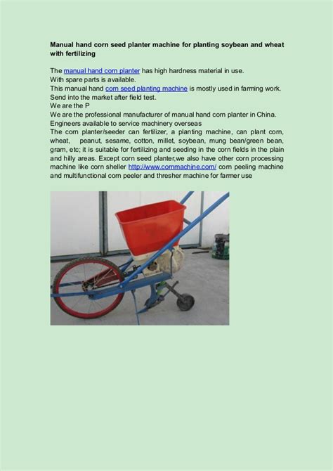 Manual Corn Planter by Manual Corn Seed Planter Machine For Planting