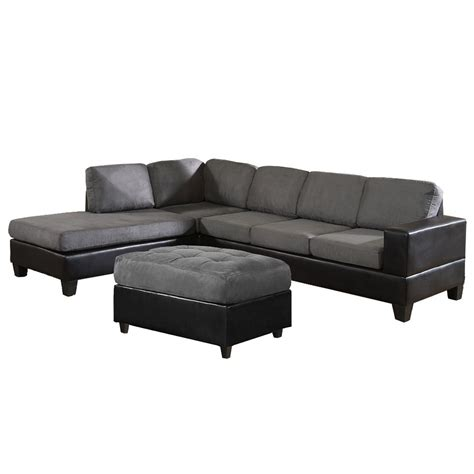 couch with chaise on left side venetian worldwide dallin sectional sofa and ottoman