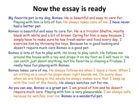 My Favorite Pet Essay by Essay Writing Ppt