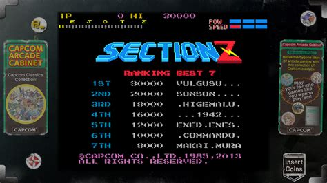 Section Z Arcade by Capcom Arcade Cabinet Section Z En Ps3 Playstation