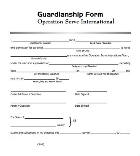 Free Guardianship Template guardianship form 7 documents in pdf word