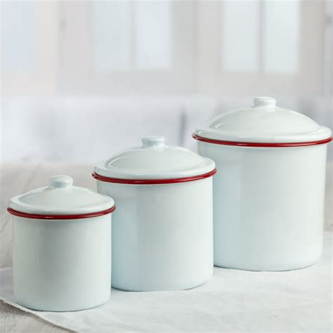White Enamel Canister Set   Decorative Accents   Primitive