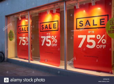 werkstatt banner sale up to 75 banners in a shop window stock photo