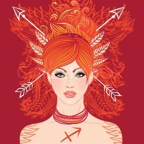 beautiful sagittarius sagittarius astrological sign as a beautiful girl vector