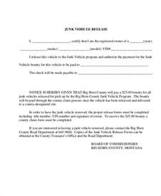 Vehicle Release Form Template by Sle Vehicle Release Form 9 Exles In Word Pdf