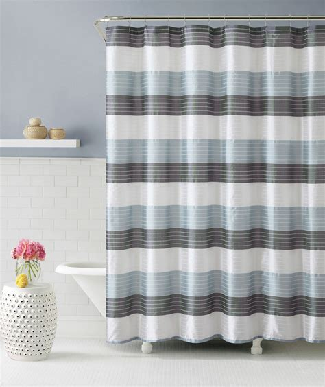 Blue And Grey Shower Curtains Blue Gray And White Fabric Shower Curtain Stripe Design Ebay