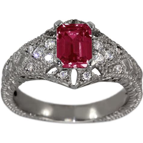 Ruby Engagement Ring Ruby Emerald Cut In Vintage Filigree