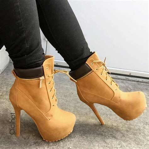 timberland boots with high heels shoes high heels heels boots timberland heels booties