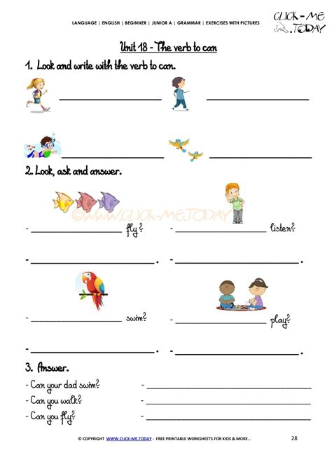 grammar pictures grammar exercises with pictures verb to can 2