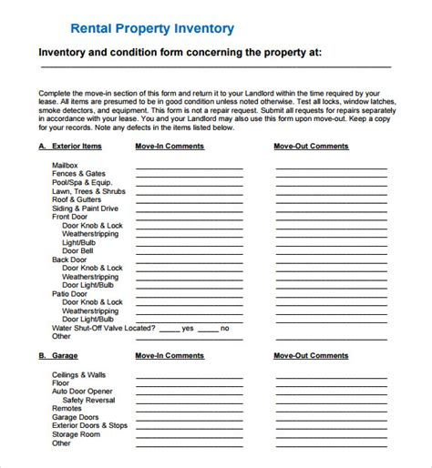 landlord inventory template free landlord inventory template 7 free documents in