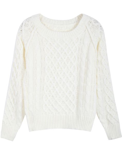White Sweater by White Sleeve Patterned Cable Knit Sweater