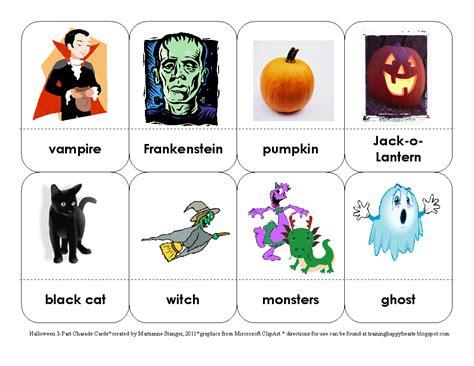 halloween themed charades training happy hearts halloween 3 part charades cards