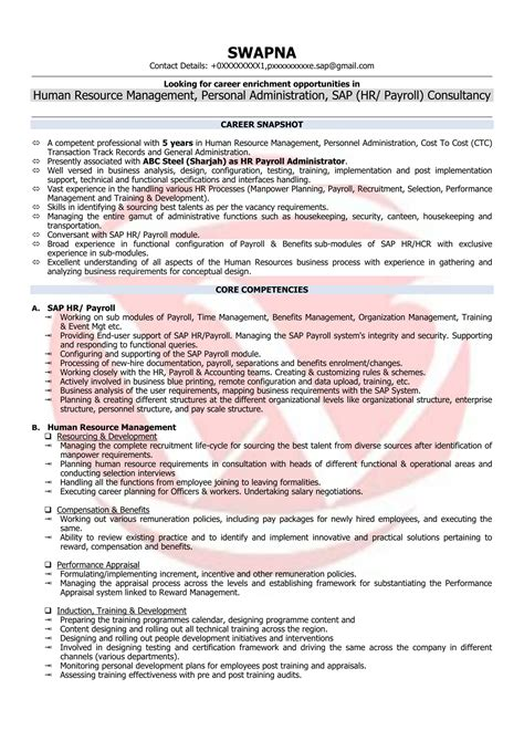 hr executive resume hr executive sle resumes resume format templates