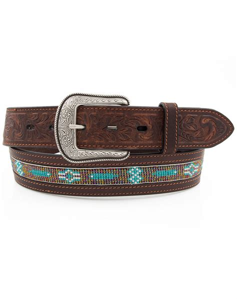 mens beaded belts 3d s 1 1 2 quot beaded western belt brown