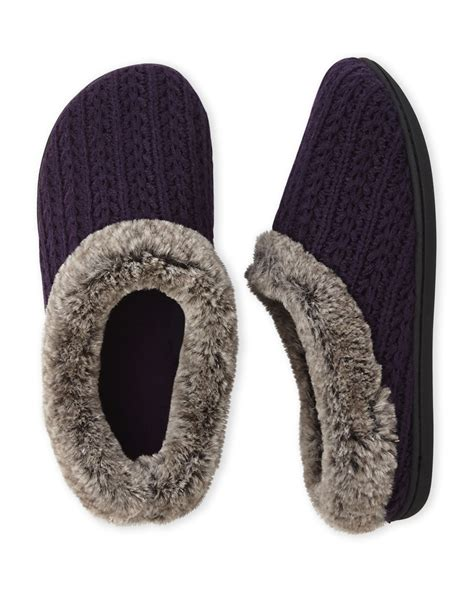 deer foam slippers dearfoams sweater knit faux fur clog slippers in purple lyst