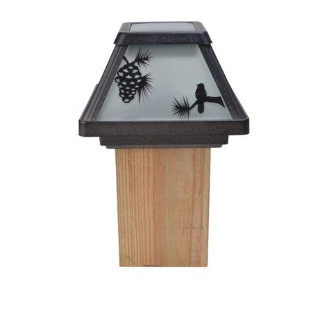 ezsolar solar powered led black metal post cap light 4