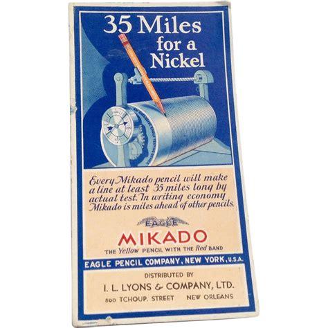 Eagle L Company by Vintage Mikado Eagle Pencil Company Cardboard Ink Blotter