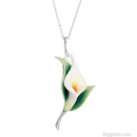 franz porcelain calla lily flower necklace fj00223